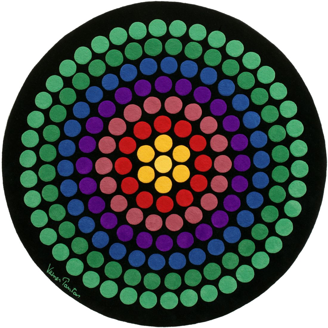 vp8 rund teppich rainbow designercarpets bunt verner panton. Black Bedroom Furniture Sets. Home Design Ideas